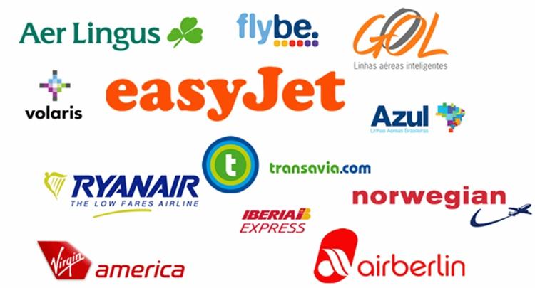 Logotipos companhias de viagens low cost