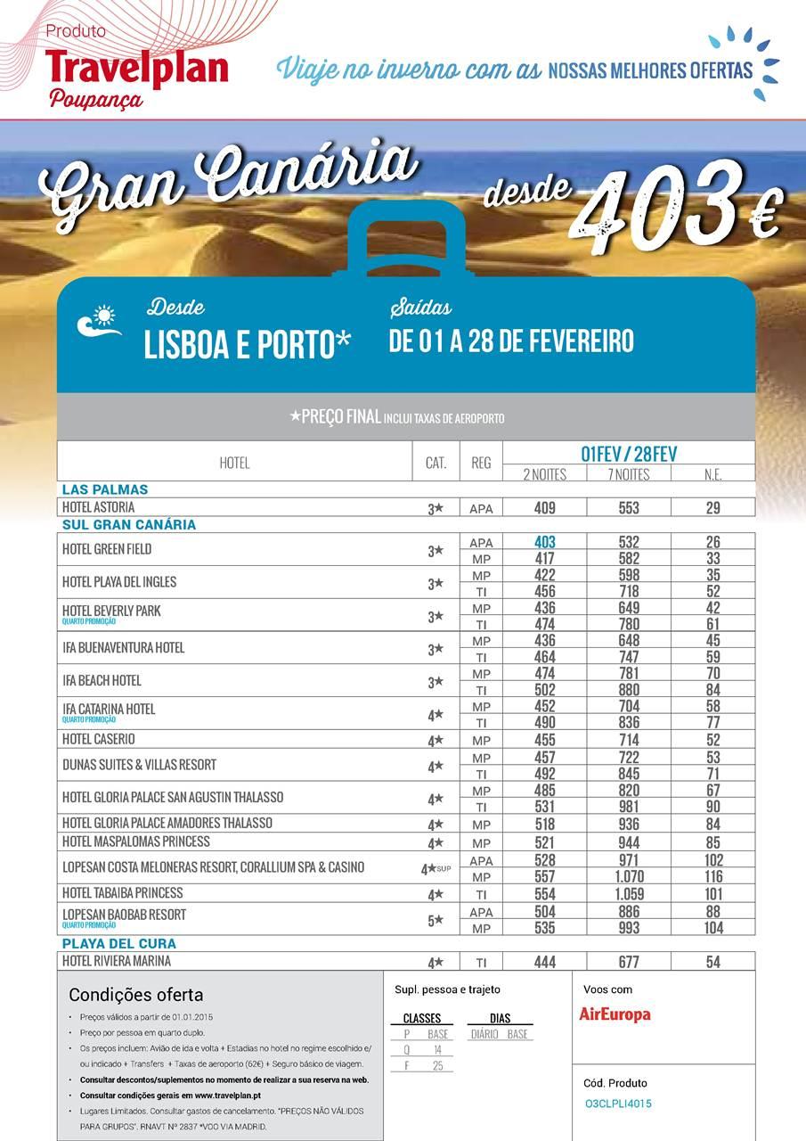 Programa de Férias na Gran Canária em Fevereiro de 2015
