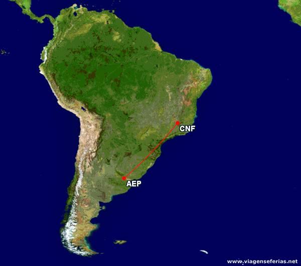 Ligação Aerolineas Argentinas entre Buenos Aires e Belo Horizonte