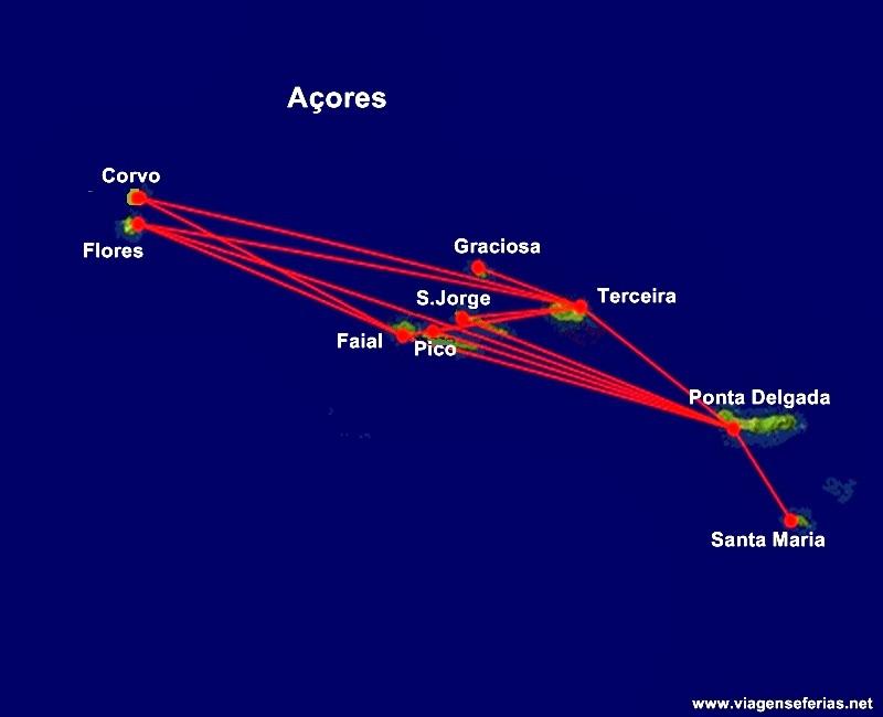 Rota das Passagens aéreas grátis inter-ilhas dos Açores pela SATA