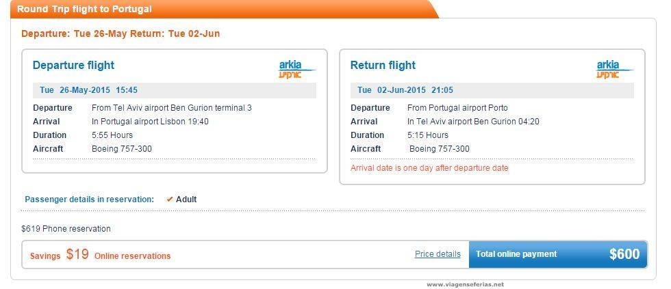 Voos Arkia Airlines de Israel para Portugal