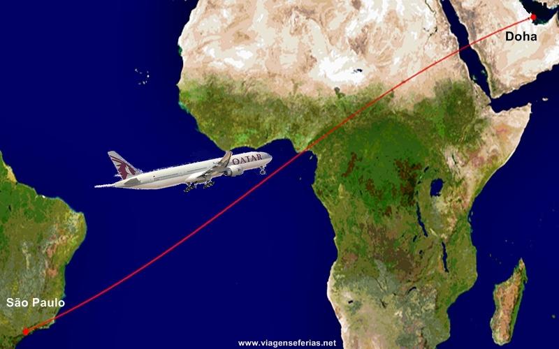 Rota Doha-São Paulo pela Qatar Airways