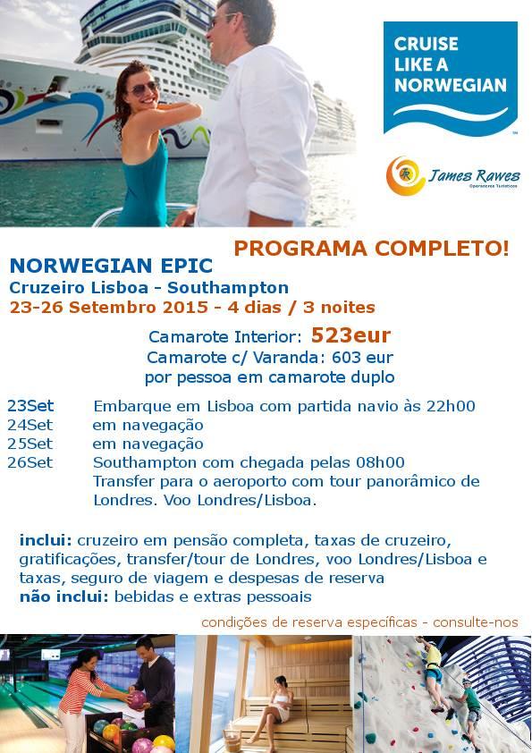 Cruzeiro a 23-09-2015 Lisboa-Southampton desde 523€