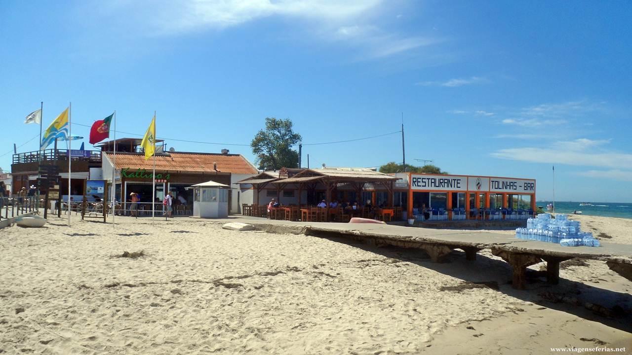 Zona da ria, bar Tolinhas e antigo cais na Armona
