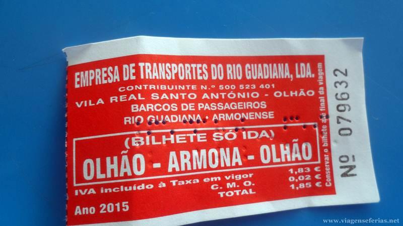 Bilhete de barco que faz a travessia entre olhão e Armona no Algarve
