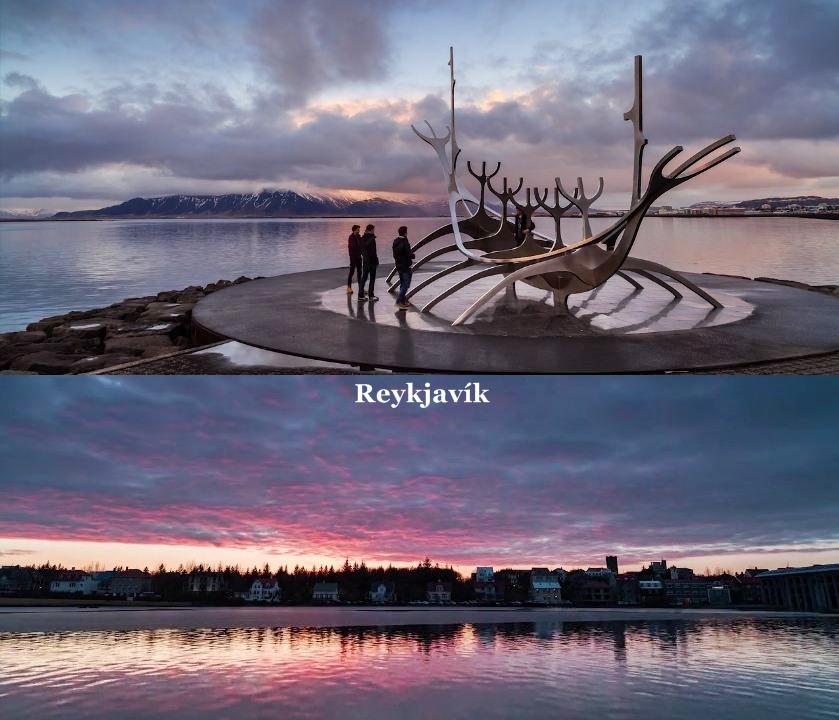 2 imagens da cidade de Reykjavík com as sua beleza natural