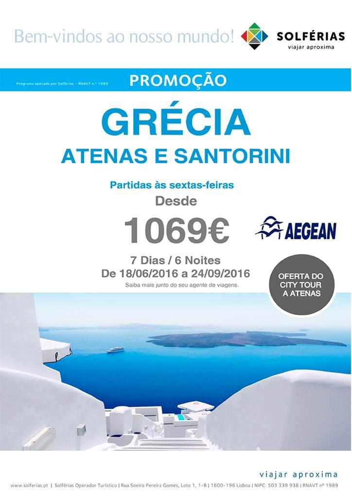 Desde 1069€ férias 6 noites na Grécia em Atenas e Santorini