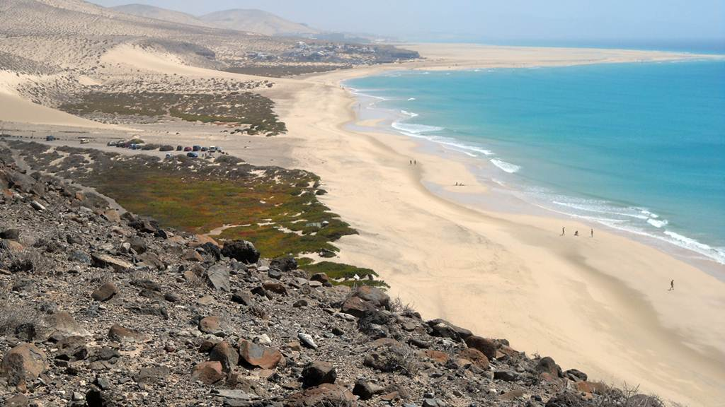 Playa Sotavento na ilha de Fuerteventura nas Canárias