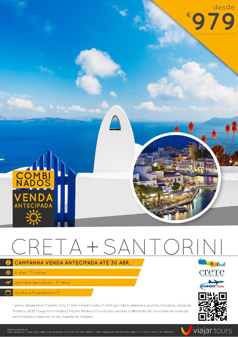 combinado férias em Creta e Santorini com voos e hotel desde 979€