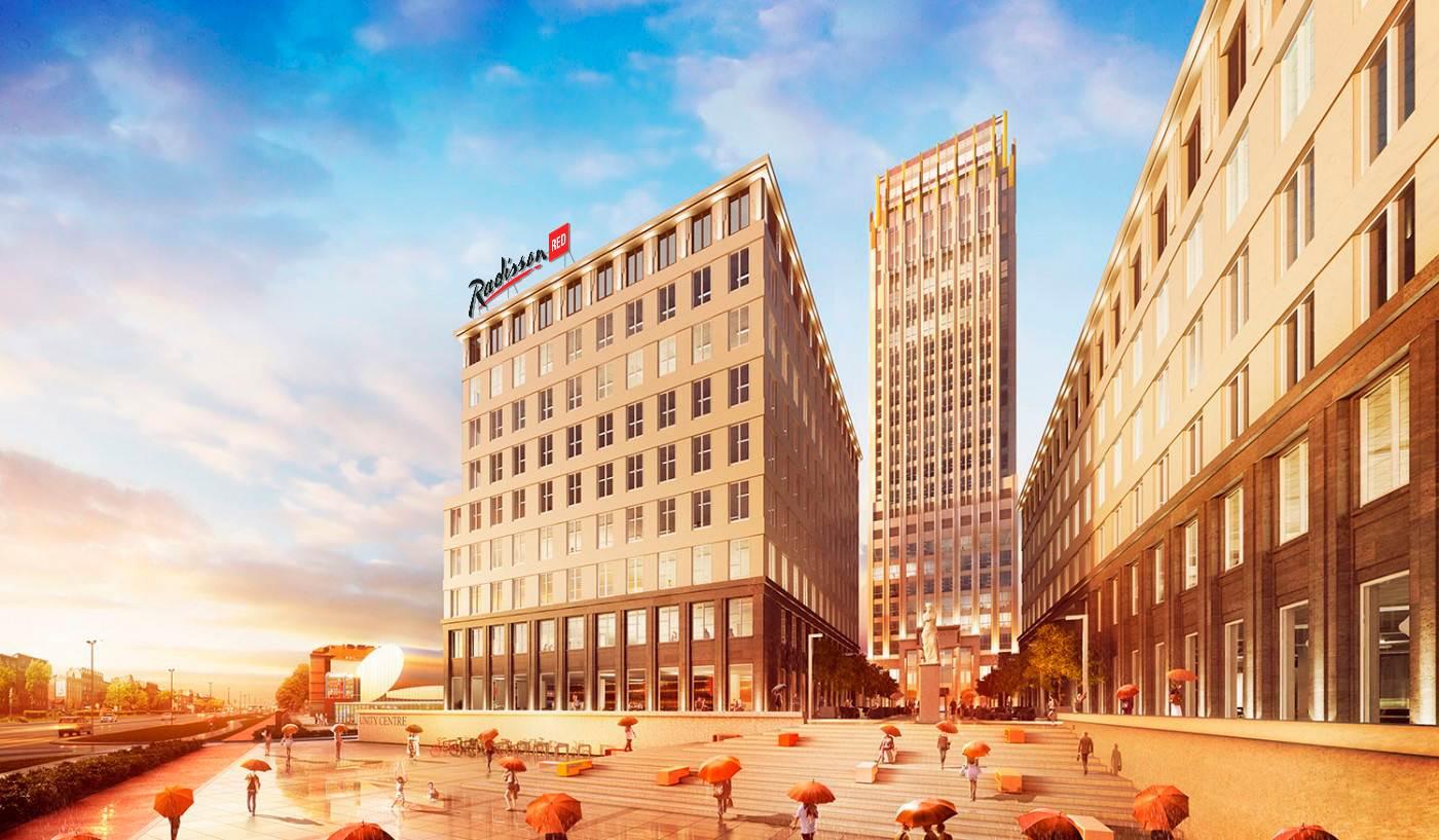 Hotel Radisson Red Cracóvia que vai abrir no prédio mais alto desta cidade da Polónia