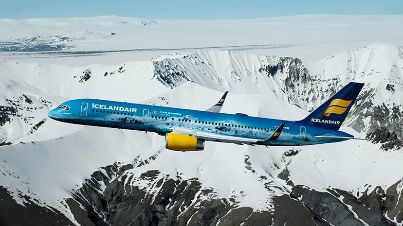 Avião Vatnajokull da Icelandair em honra ao maior glaciar da Europa