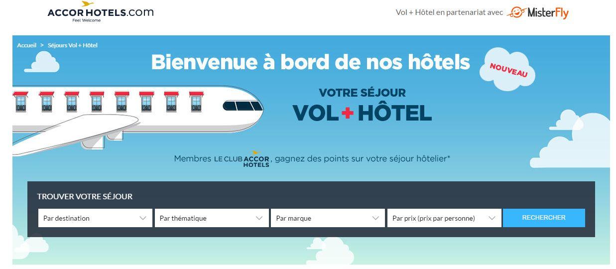 Pagina da Accorhotels onde disponibiliza o pacote voo e hotel