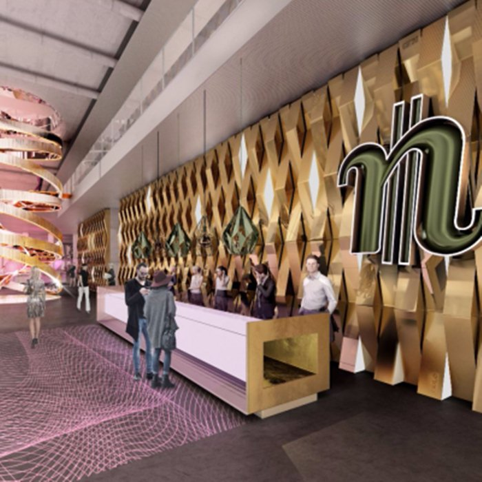 Futuro lobby do hotel nhow Frankfurt na Messe