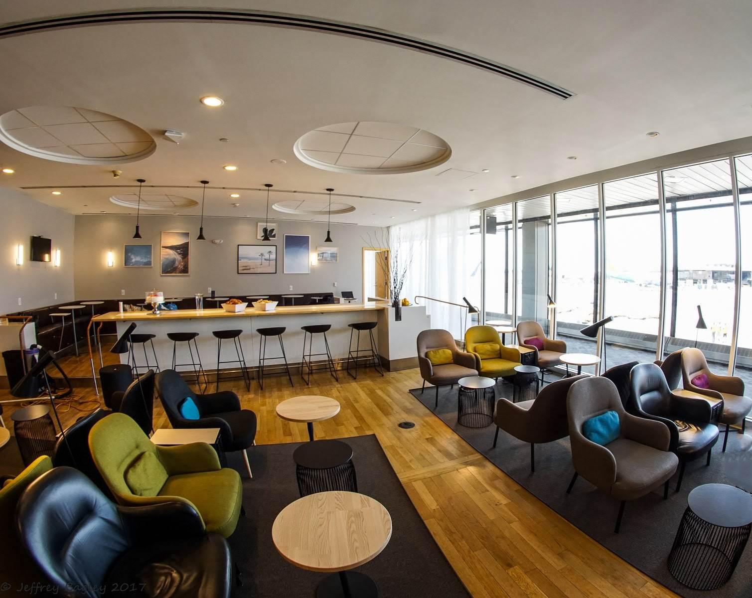 Zona de estar do Lounge em Nova Iorque da companhia aérea SAS