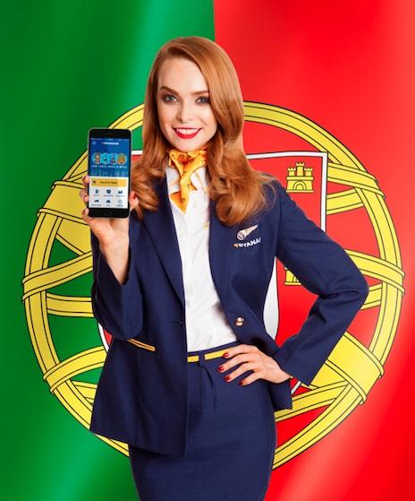apresentação da aplicação Ryanair para móvel em português