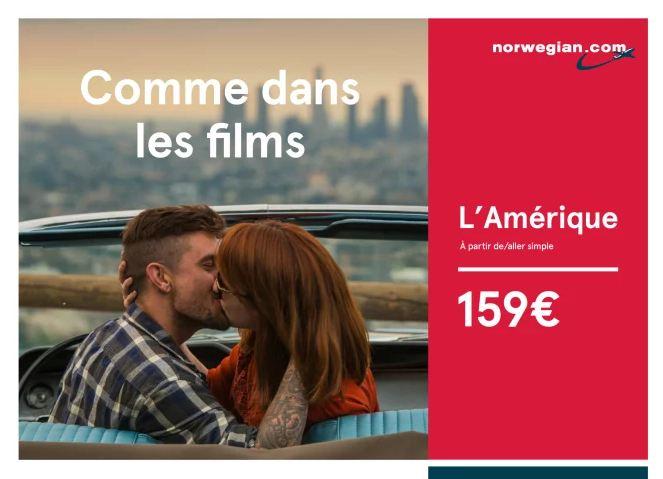 Campanha publicitária da low cost Norwegian na televisão em França