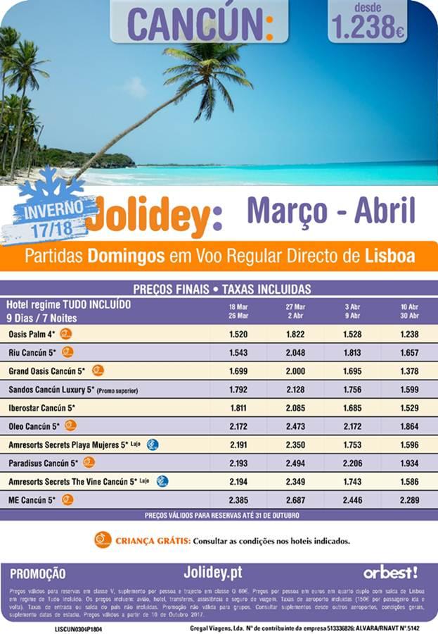 Férias de 7 dias em Cancun durante o mês de Março ou Abril desde 1238€