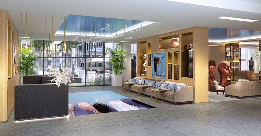 Espaço comum do hotel Mövenpick Hotel Abidjan na África Subsariana