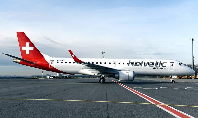 Aeronave Embraer E190 da Helvetic Airways