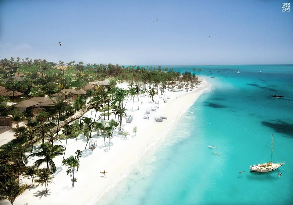 Praia privada do hotel resort Zuri Zanzibar
