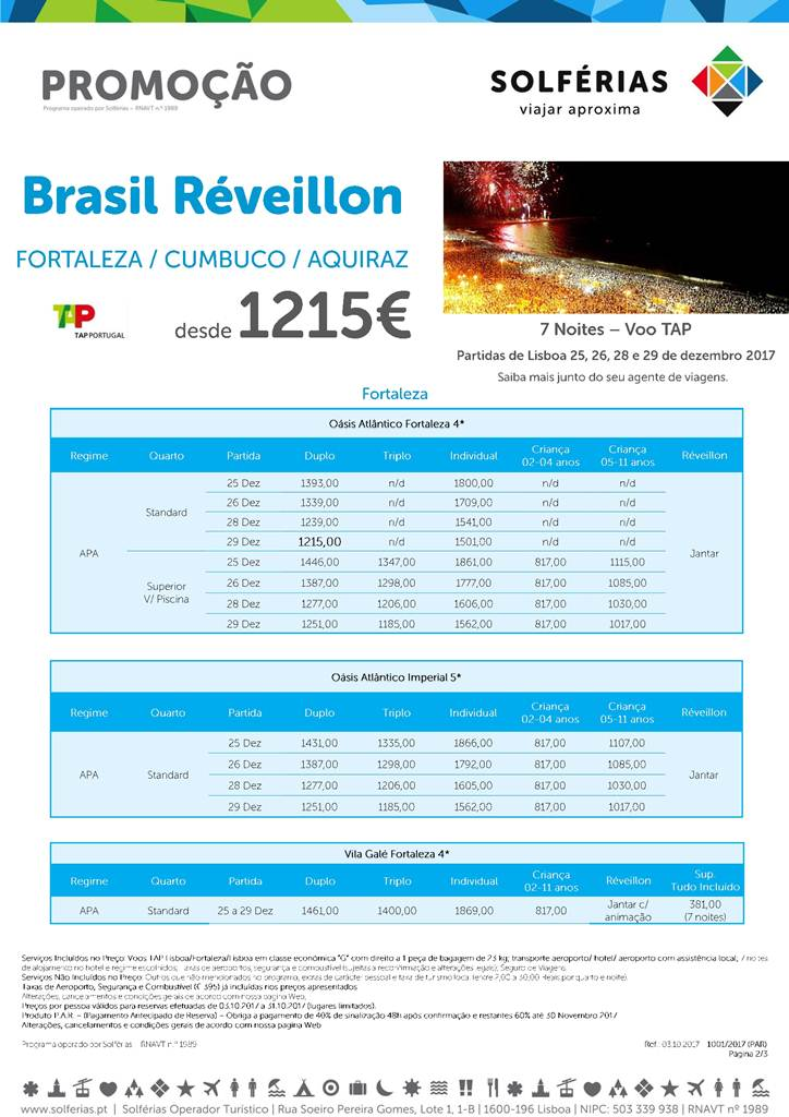 Réveillon no Brasil em Fortaleza ou Cumbuco desde 1215€