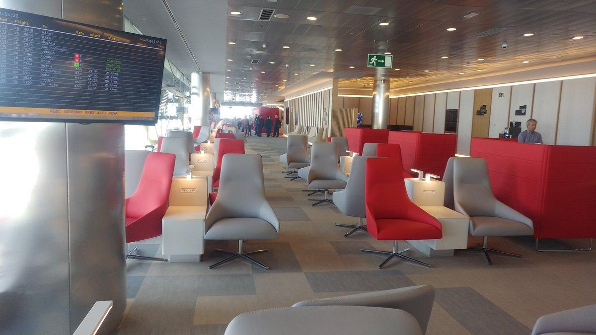 Zona de descanso da sala VIP Velázquez no T4 do aeroporto Madrid-Barajas