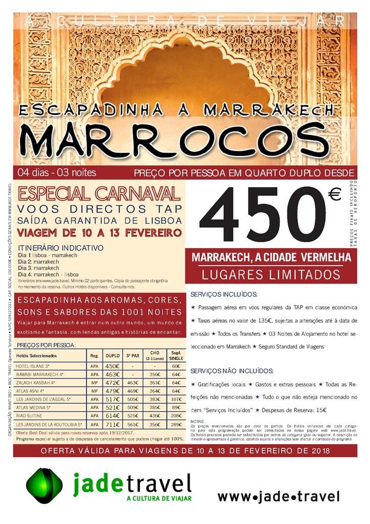 Folheto escapadinha de Carnaval em Marrakech desde 450€