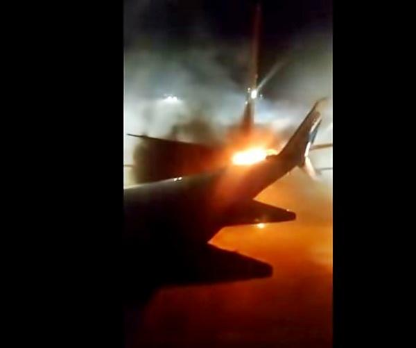 Incêndio da colisão do avião da Sunwing com o da WestJet